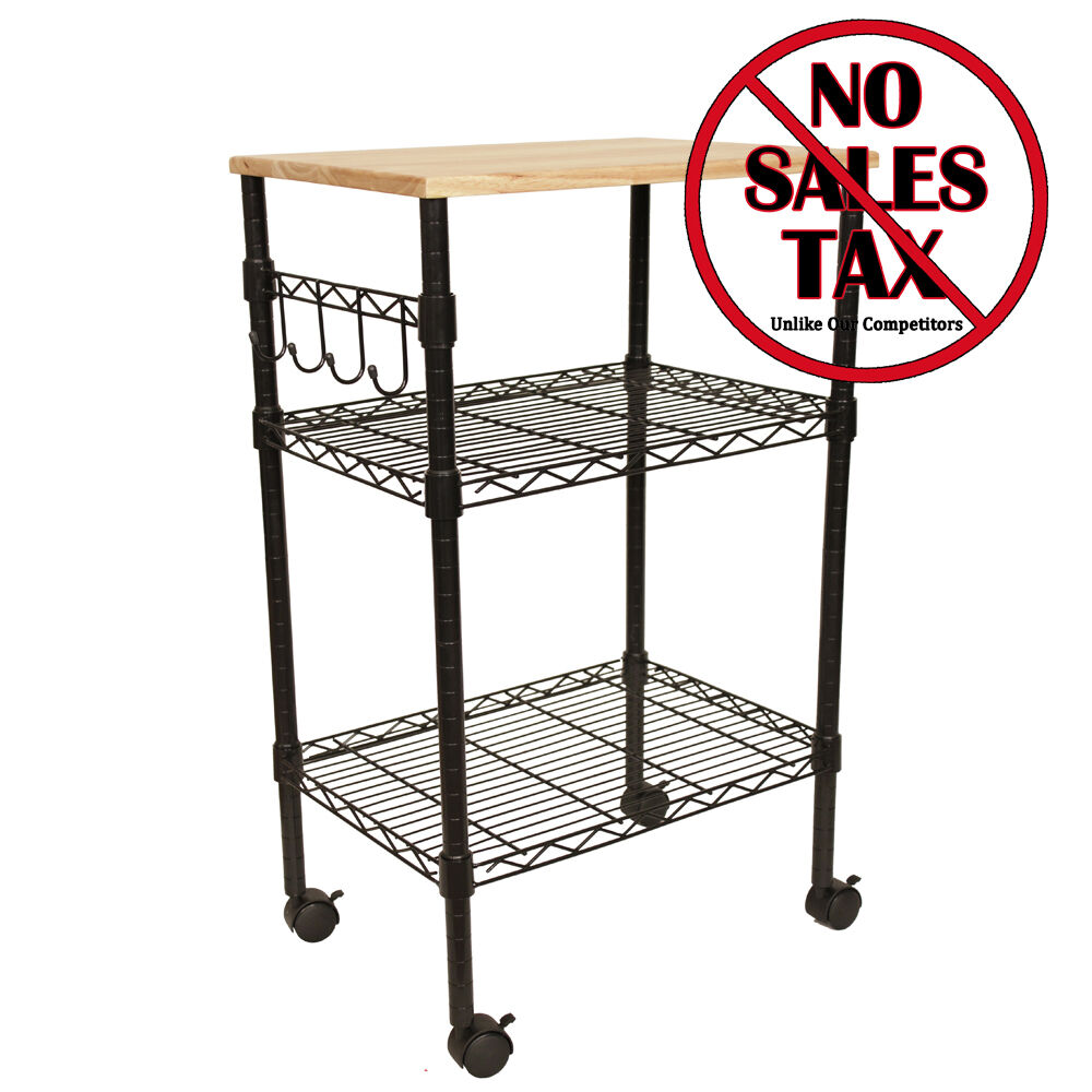 Black Kitchen Island Cart Mobile Portable Rolling Utility