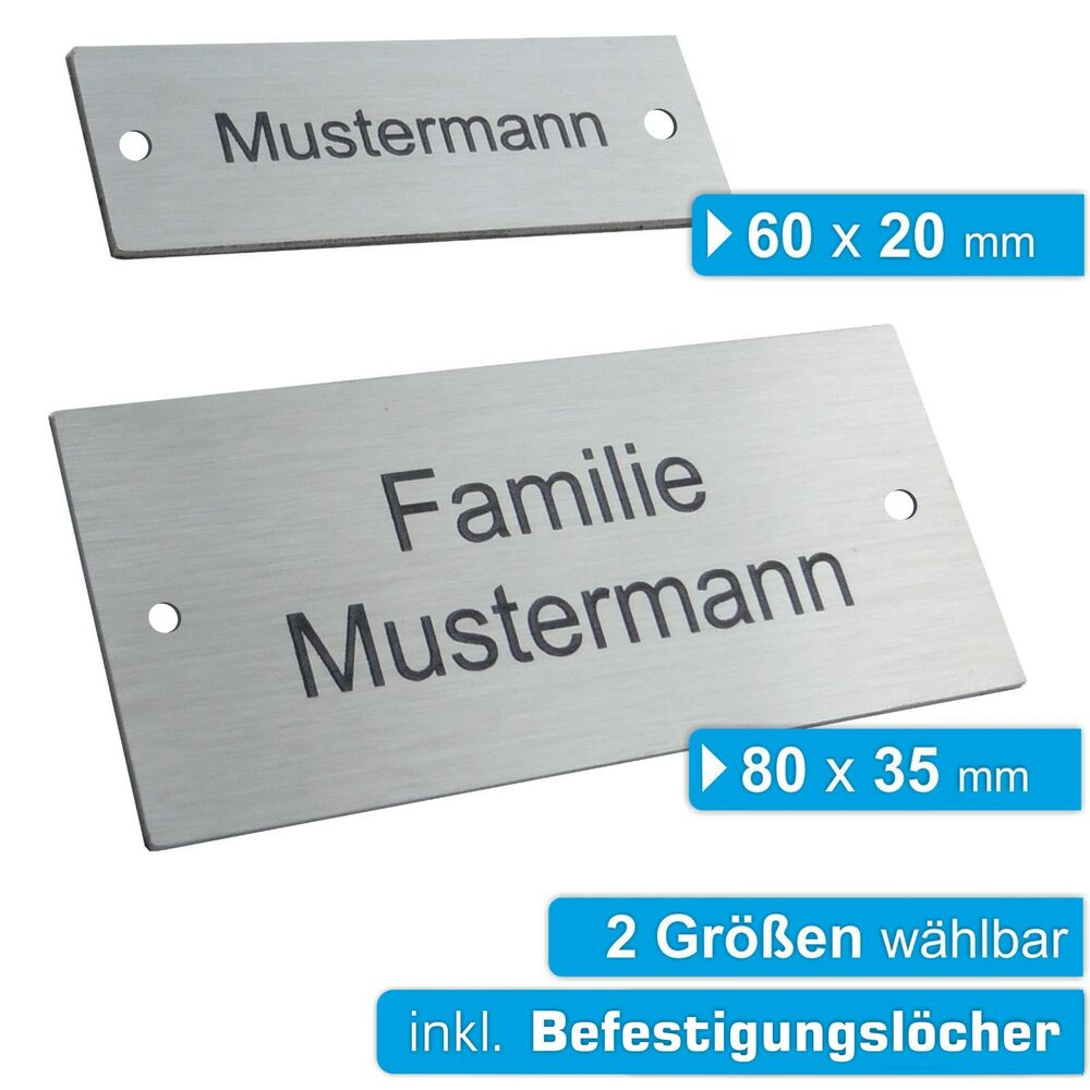 edelstahl t rschild mit gravur namensschild klingelschild briefkastenschild jl ebay. Black Bedroom Furniture Sets. Home Design Ideas