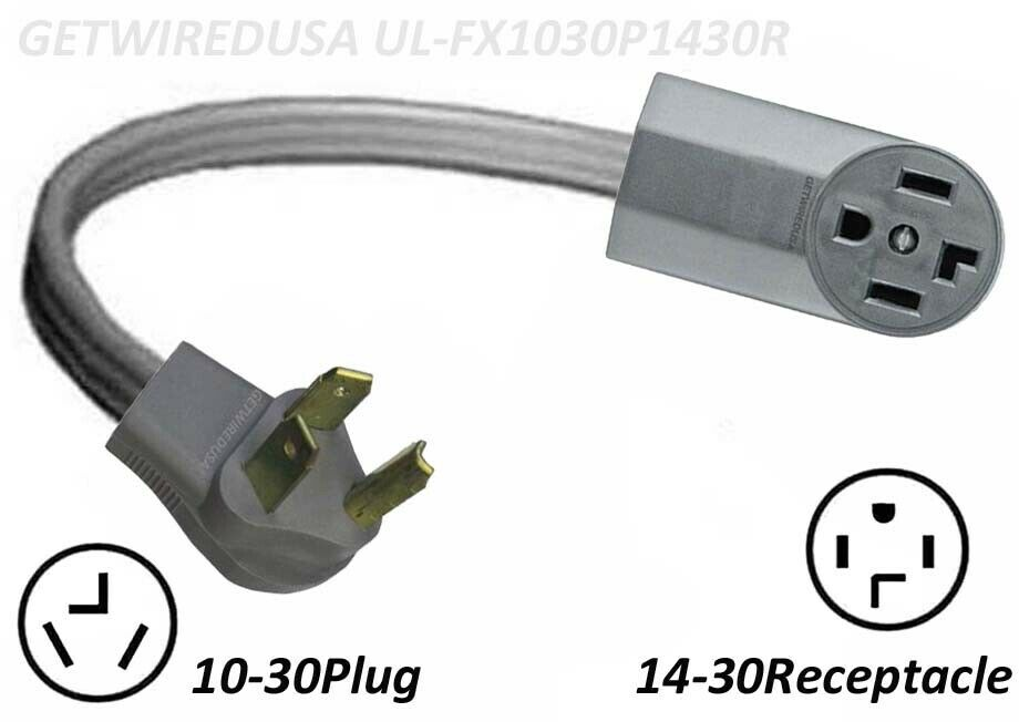 dryer power cord new 14 30r 4 prong receptacle to 10 30p 3 10556