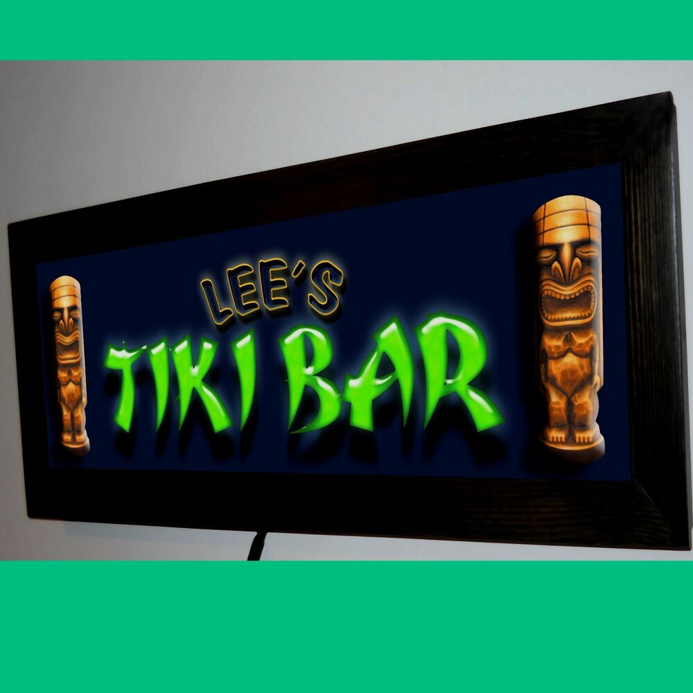 PERSONALIZED TIKI BAR RF REMOTE CONTROLED LED LIGHTED BAR