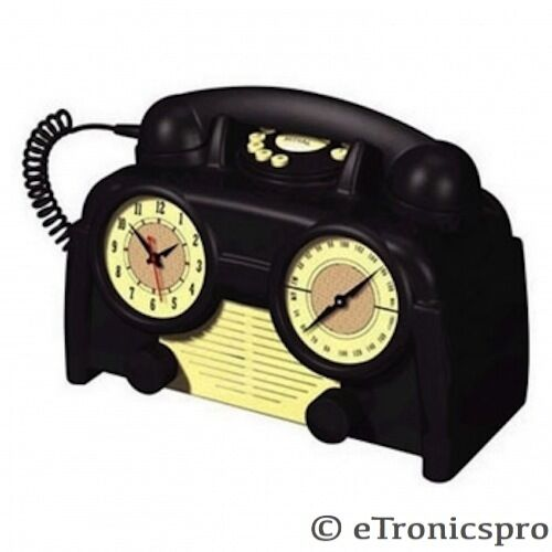 new us basic retro style alarm clock am fm radio phone. Black Bedroom Furniture Sets. Home Design Ideas