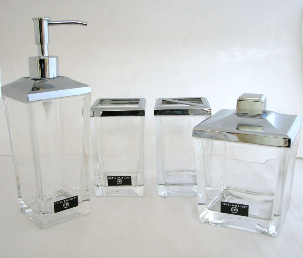 Hotel balfour 4pc set silver heavy clear glass soap for Bathroom countertop accessories sets