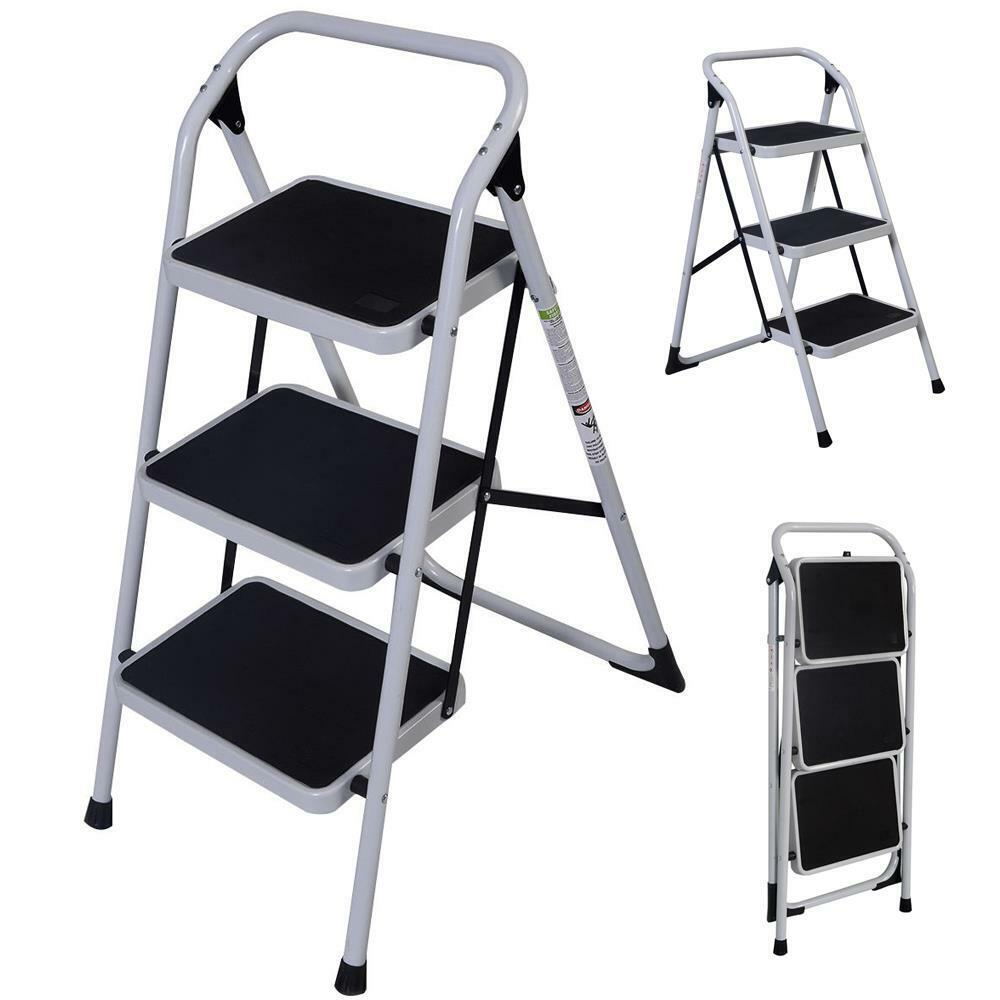 3 Step Ladder Folding Non Slip Safety Tread Heavy Duty