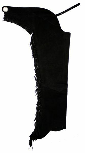 Western Riding Suede Leather Show Chaps Fringe Down Both