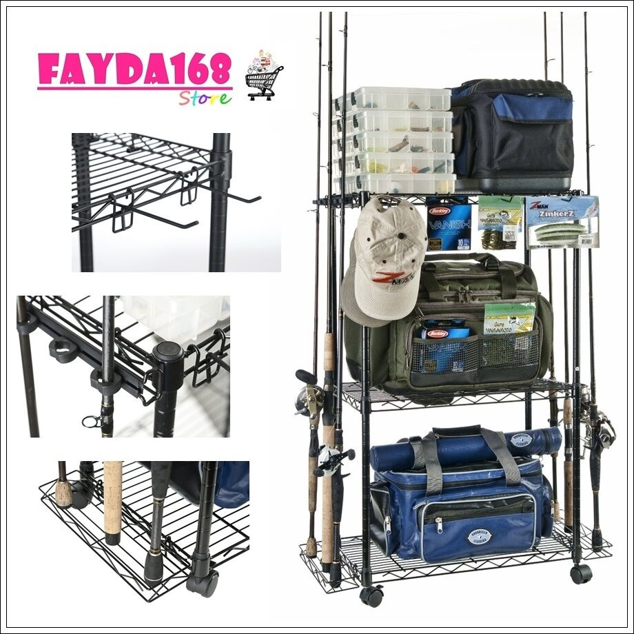Organizer fishing rod rack pole reel tackle trolley for How to store fishing rods