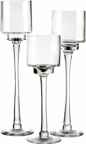candle holder set of 3 glass pedestal stem candle holders in 3 different heights ebay. Black Bedroom Furniture Sets. Home Design Ideas