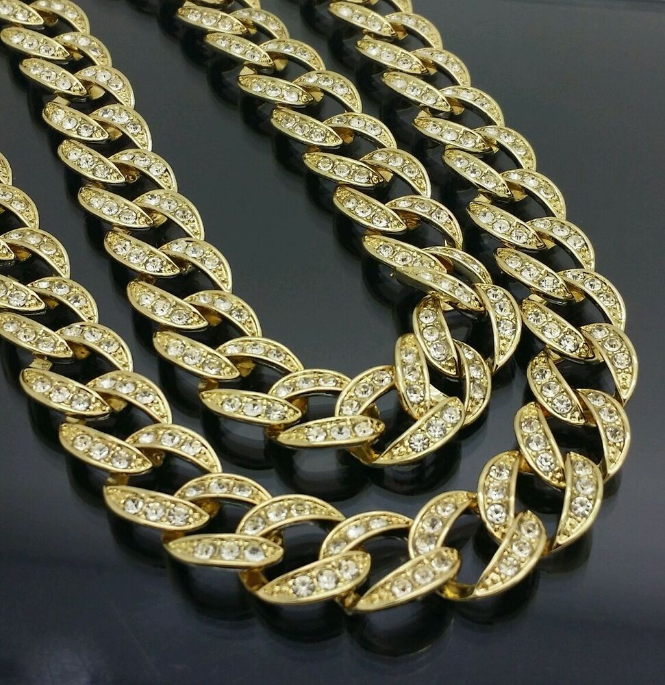 Mens Fully Iced Out Hip Hop 14k Gold Finish Miami Cuban