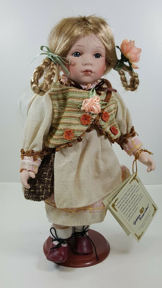 """BESS"" GOLDEN KEEPSAKES 12"" COLLECTIBLE PORCELAIN DOLL NIB ..."