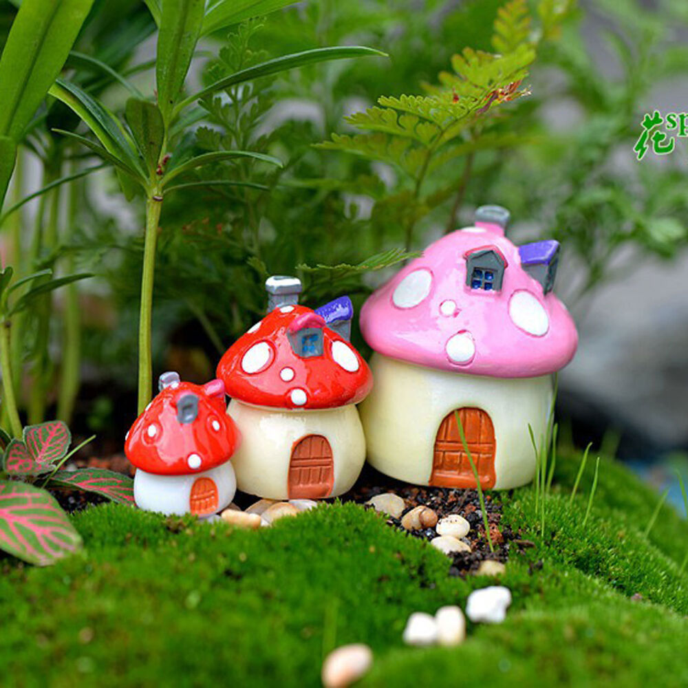 Mushroom house resin figurine craft plant pot fairy garden for Flower garden ornaments