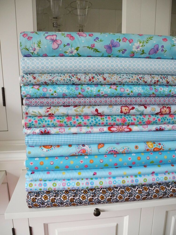 10x stoff blau tupfen streifen stoffe stoffpaket baumwolle patchwork shabby chic ebay. Black Bedroom Furniture Sets. Home Design Ideas