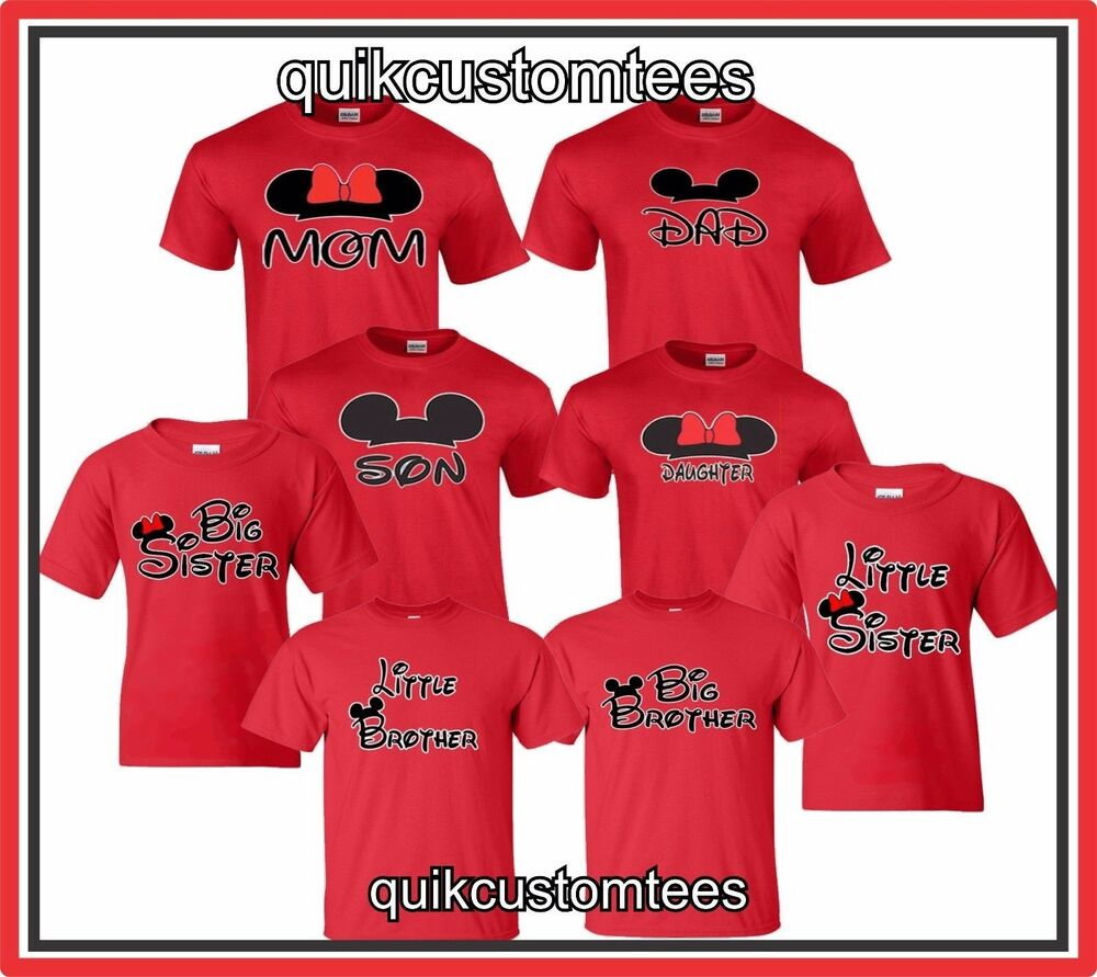 T shirt design red - Mom And Dad T Shirts Couples Design Mickey And Minnie Son Daughter Sister