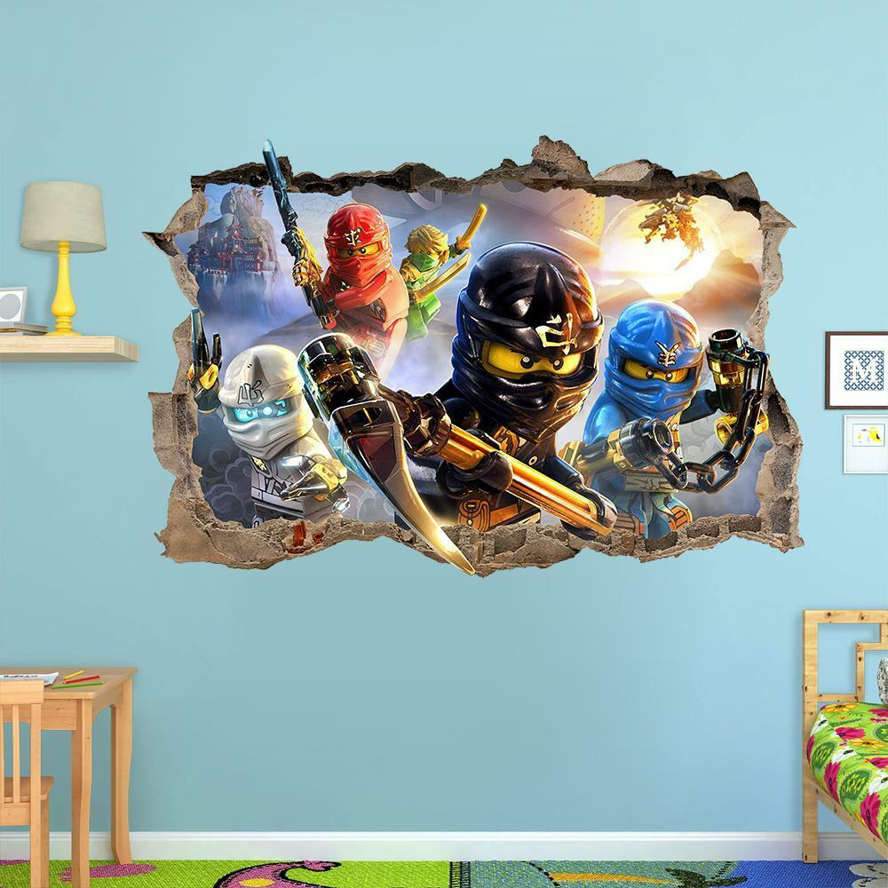 Lego ninjago smashed wall sticker 3d bedroom removable for Boys wall art