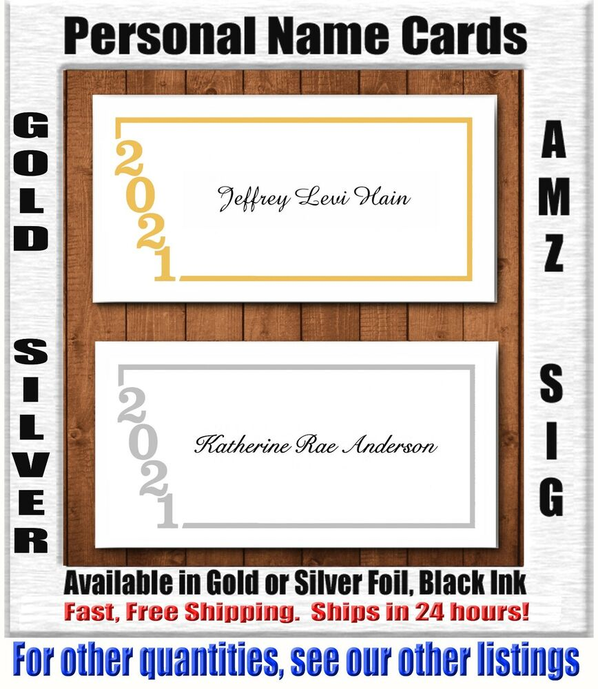 25 qty premium foil personal name cards class of 2017