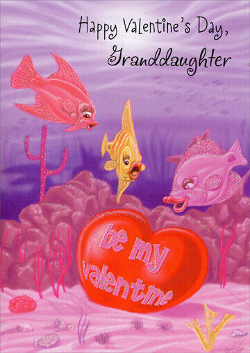 Fish Finds Valentine Granddaughter Valentines Day Card By Freedom