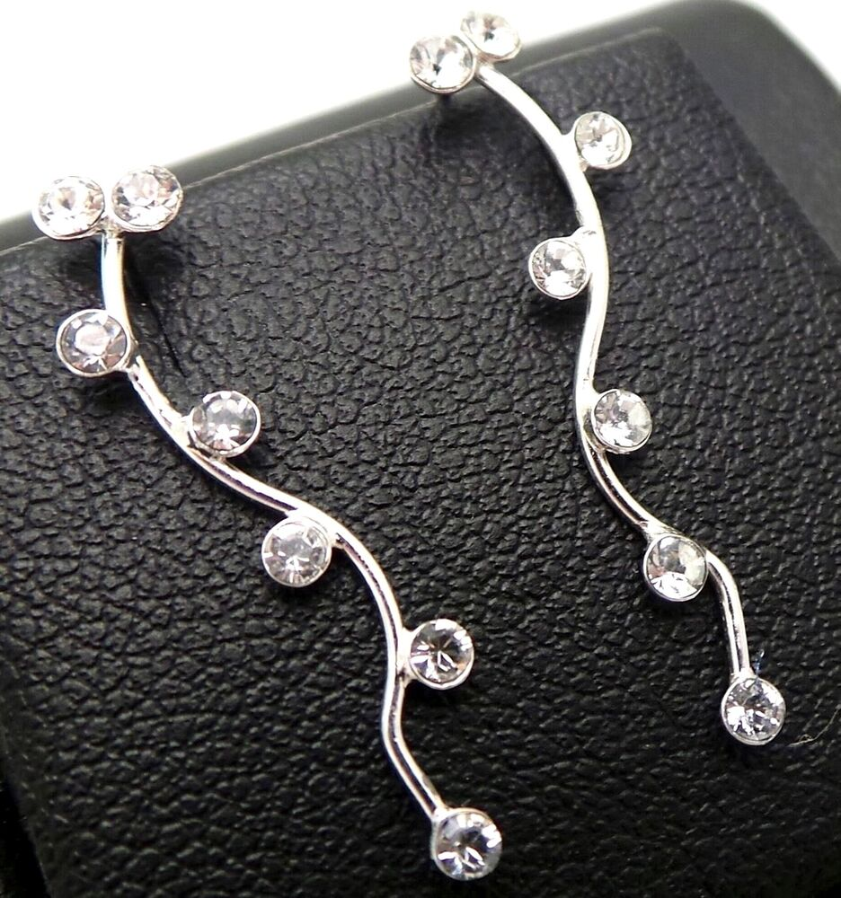 925 sterling silver w swarovski crystals pin earrings ear. Black Bedroom Furniture Sets. Home Design Ideas