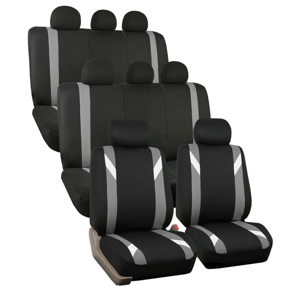 3 Row Car Seat Cover Set For SUV Minivan Gray With 8