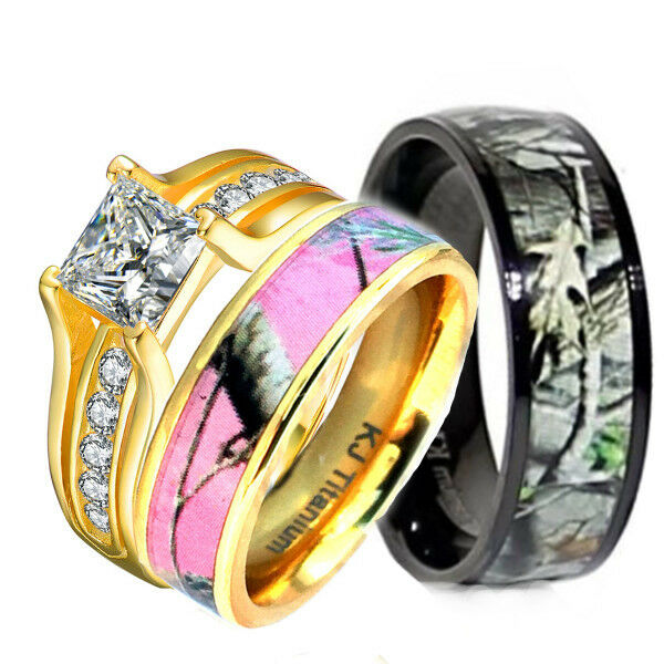 Pink Camo Wedding Rings: His & Hers 3 Pcs Pink Camo 14K Gold Plated Silver