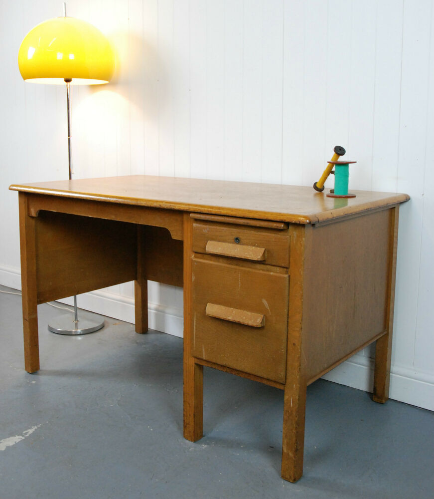 Vintage oak desk with 2 drawers retro office computer - Retro office desk ...