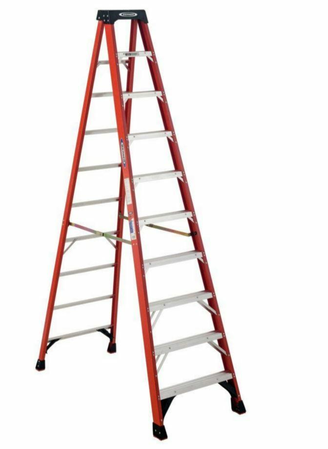 Collapsible Ladder 10 Ft : Werner ft fiberglass step ladder lb capacity type
