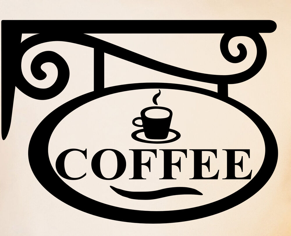 Coffee sign kitchen wall decal sticker art coffee cup wall for Mural coffee