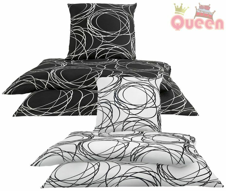 2 4 tlg bettw sche microfaser schwarz wei rei verschluss neu ln 131 ebay. Black Bedroom Furniture Sets. Home Design Ideas