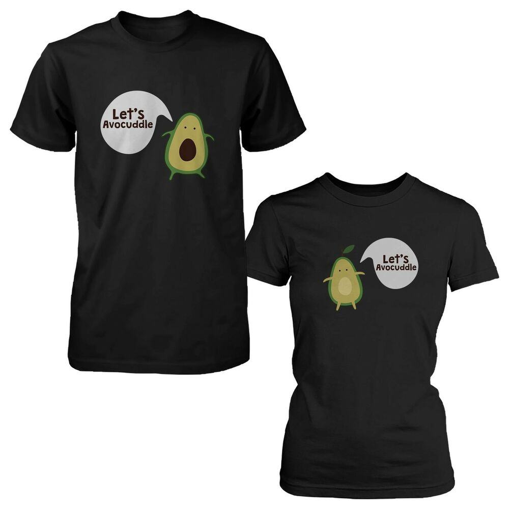 let's avocuddle cute couple shirts matching avocado black
