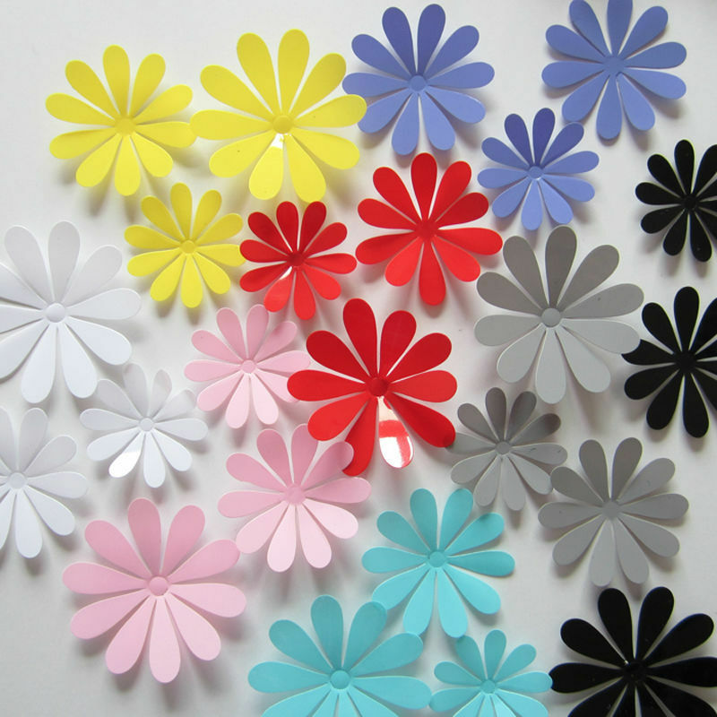 12pcs 3d Flower Sticker Art Design Decal Wall Sticker Home