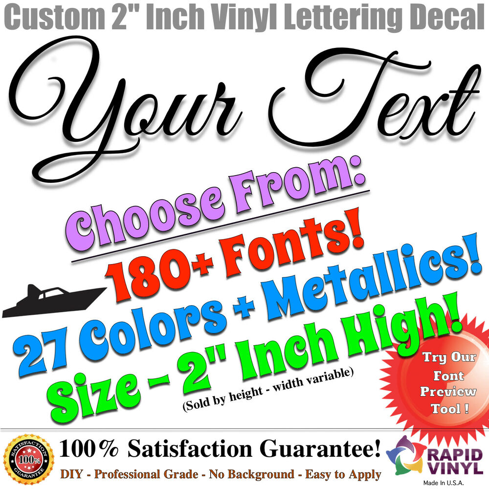 2 custom vinyl lettering decal sticker vinyl boat for Window cling letters and numbers
