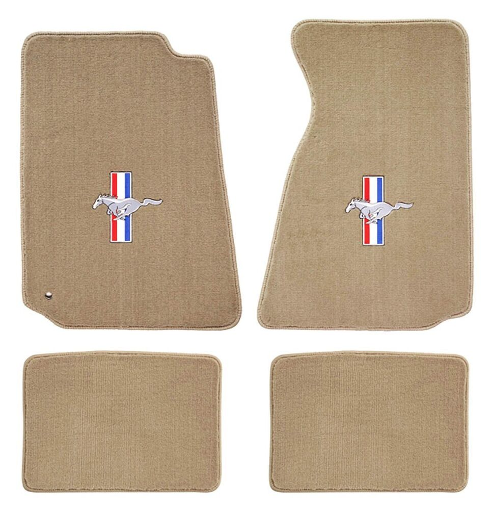 1994 1998 Mustang Floor Mats Tan Embroidered Red White