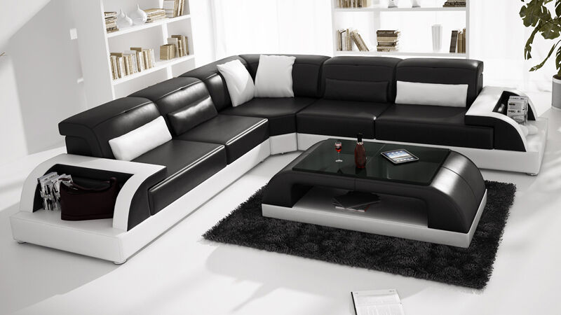 Modern LEATHER SOFA Corner Suite NEW RRP £5999 Black