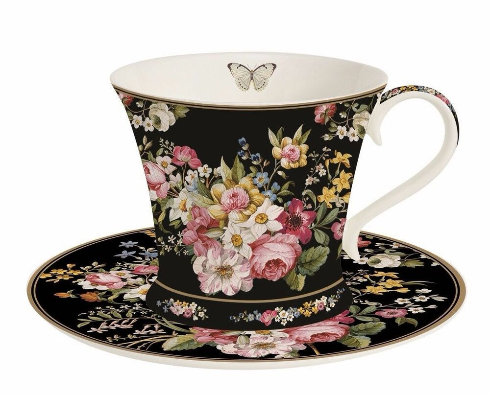 tasse mit untertasse blooming opulence schwarz in geschenkbox von nuova r2s ebay. Black Bedroom Furniture Sets. Home Design Ideas