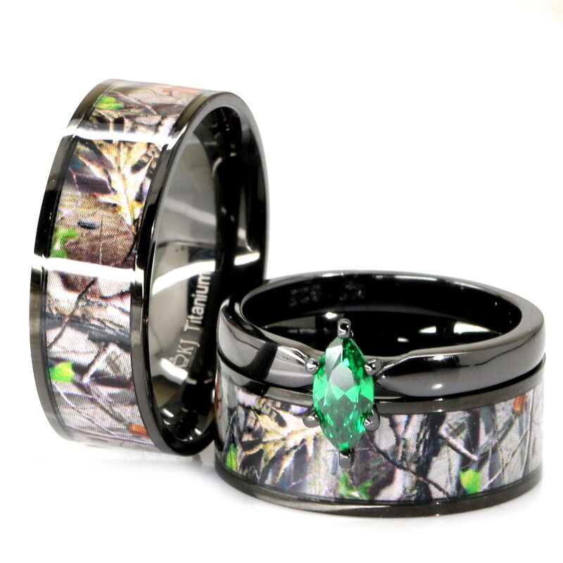 camo wedding rings sets his amp black titanium camo marquise stainless steel 2415