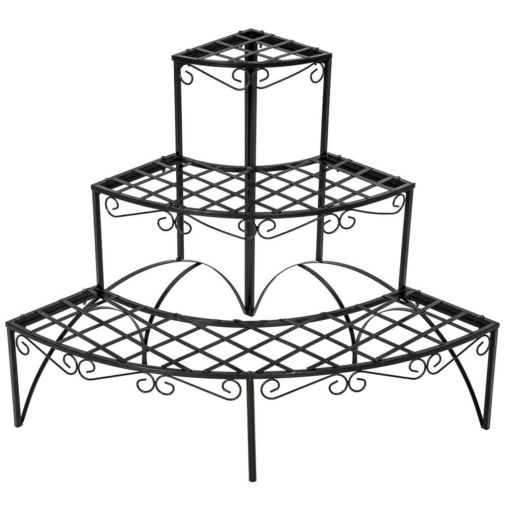 3 tier metal garden plant pot display shelf stand flower patio deck in outdoor ebay. Black Bedroom Furniture Sets. Home Design Ideas