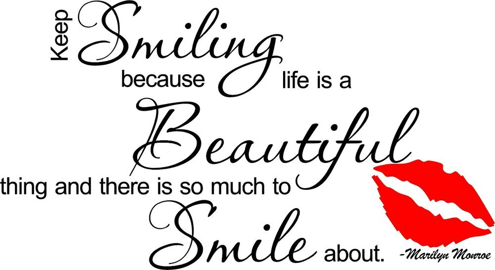 Marilyn Monroe Keep Smiling Vinyl Wall Quote Decal Sticker