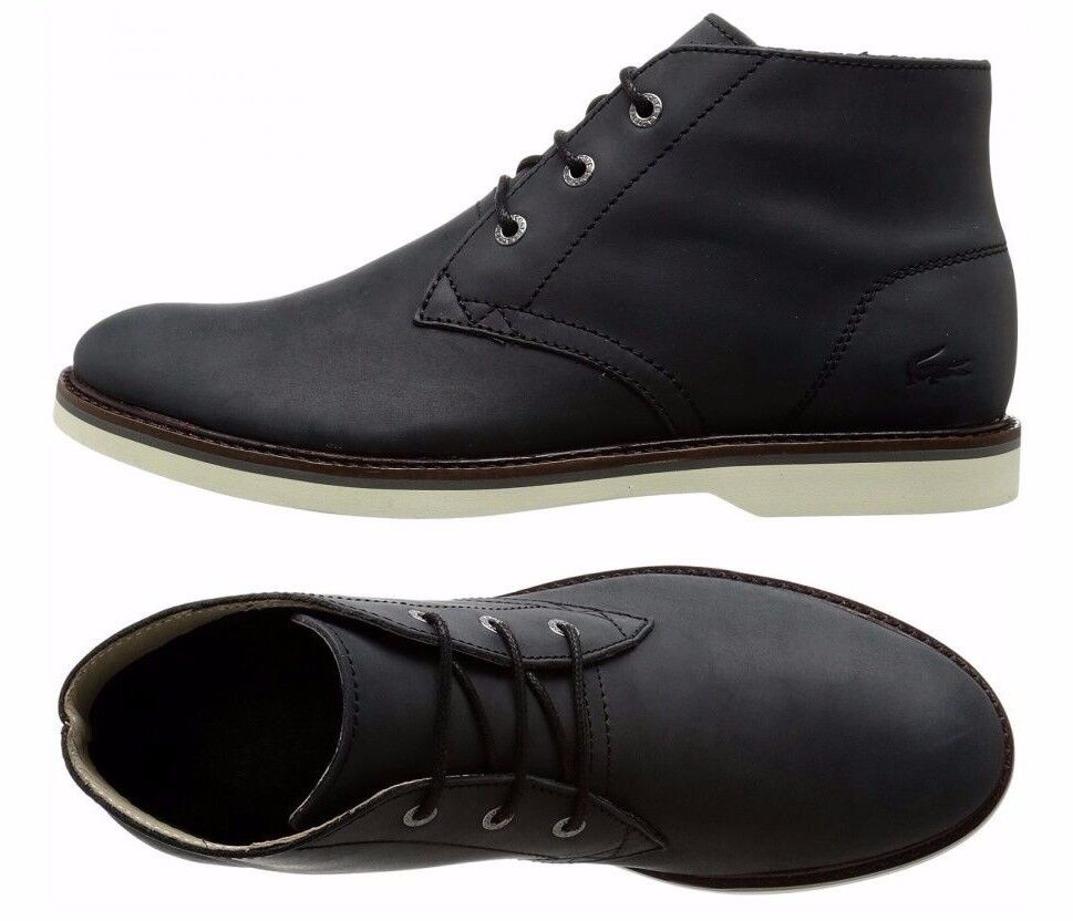 Mens Lacoste Sherbrooke Chukka Boots Black Leather Ankle ...