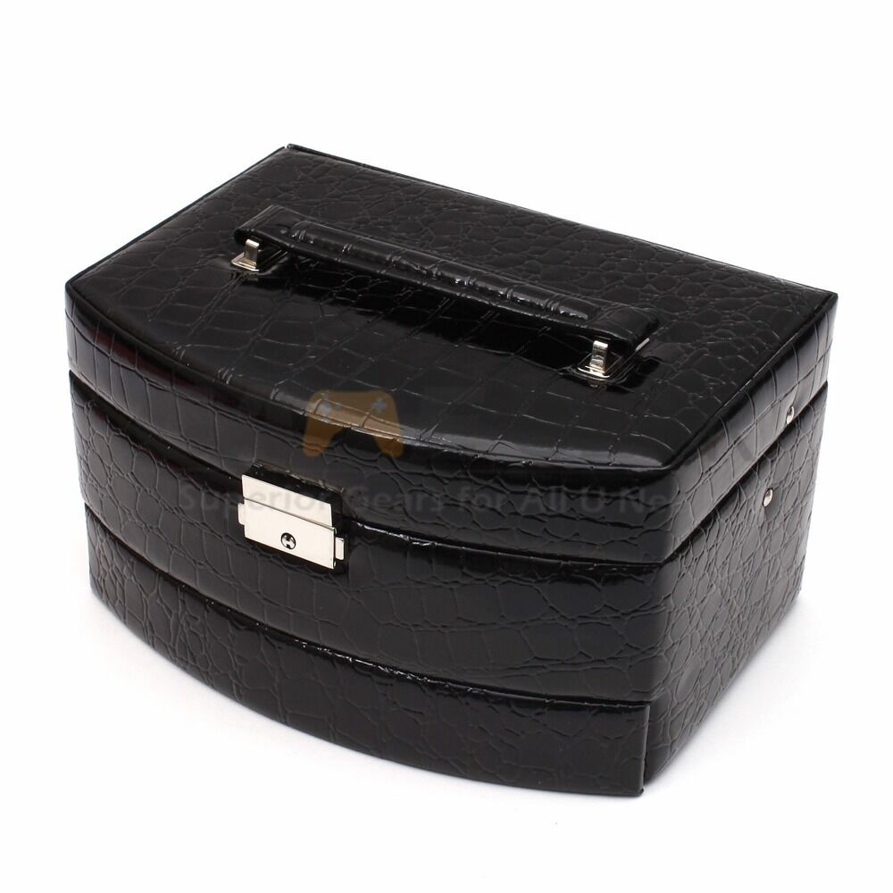 Black jewelry box storage organizer case ring earring for Ring case