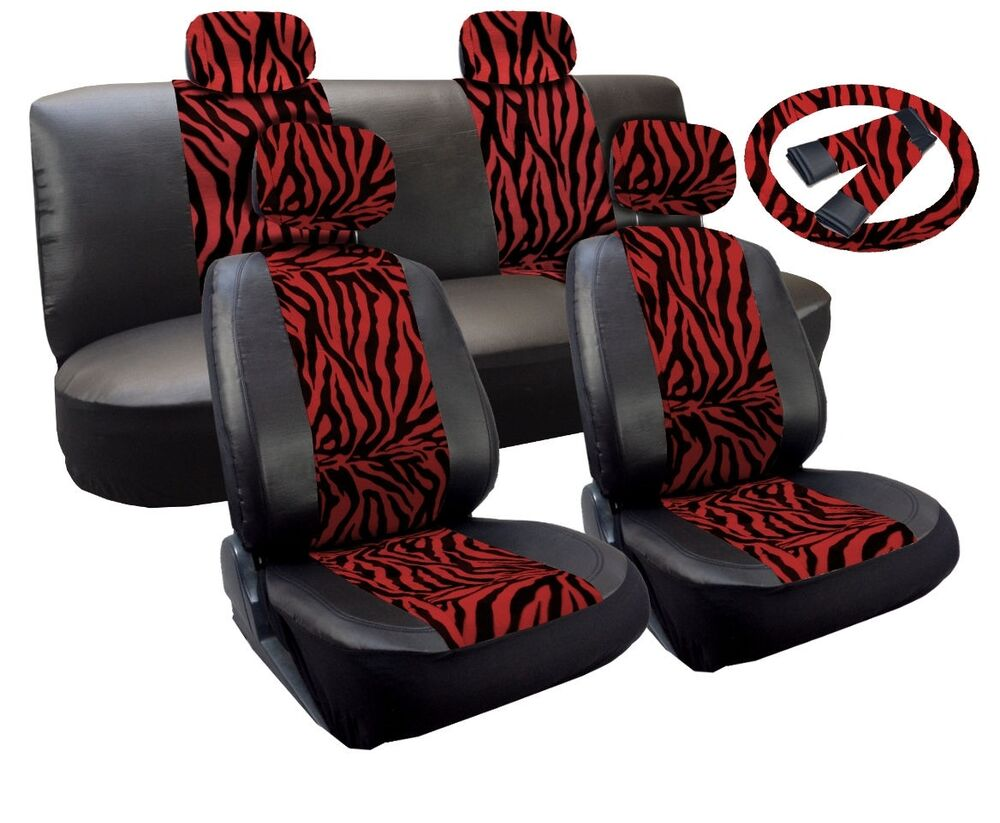 Premium Synth Leather Seat Cover Full Set Red Zebra Accent