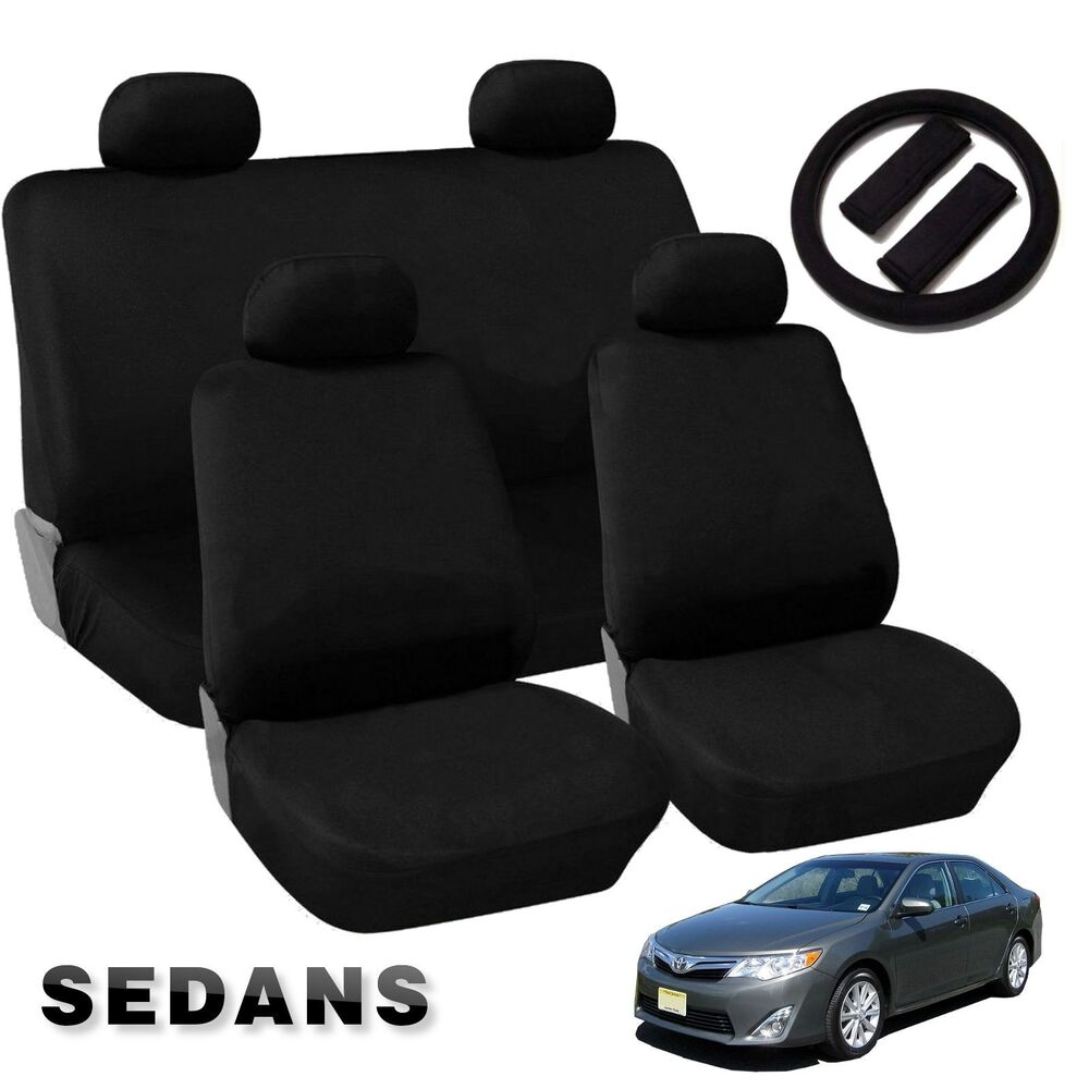 Black Comfort Cloth Polyester Car Seat Covers Double