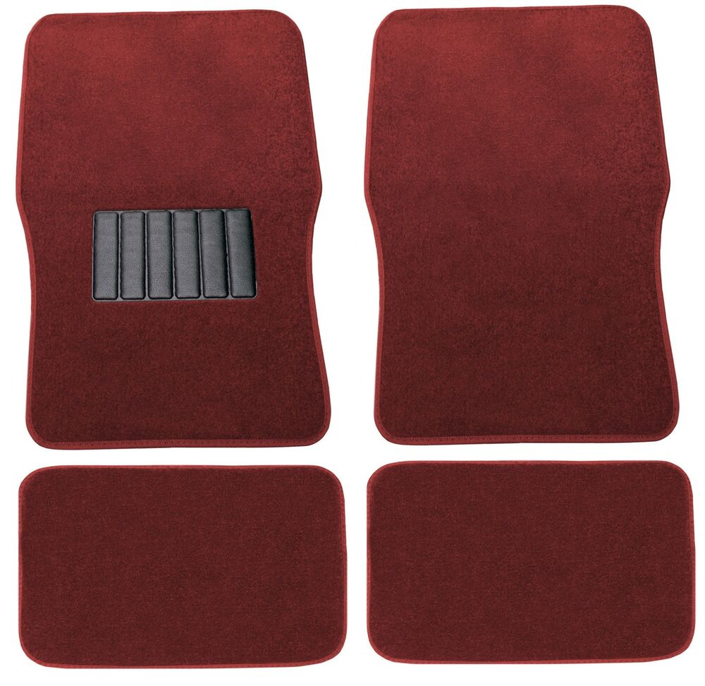 Front Rear Red Premium Carpet Car Floor Mats Fit Chevy