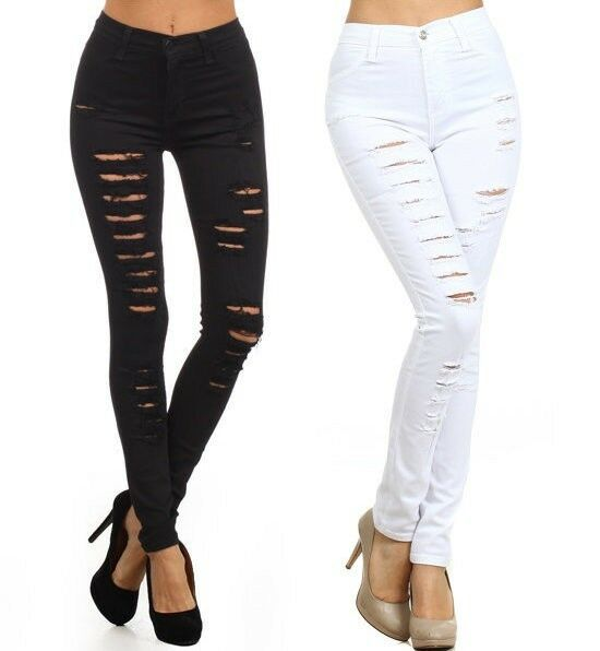 Plus Black White Denim High Waist Jeans Distressed Ripped Skinny