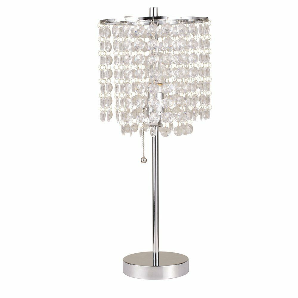Chandelier table lamp crystal light living room accent lighting glam sparkle new ebay - Chandelier desk lamp ...