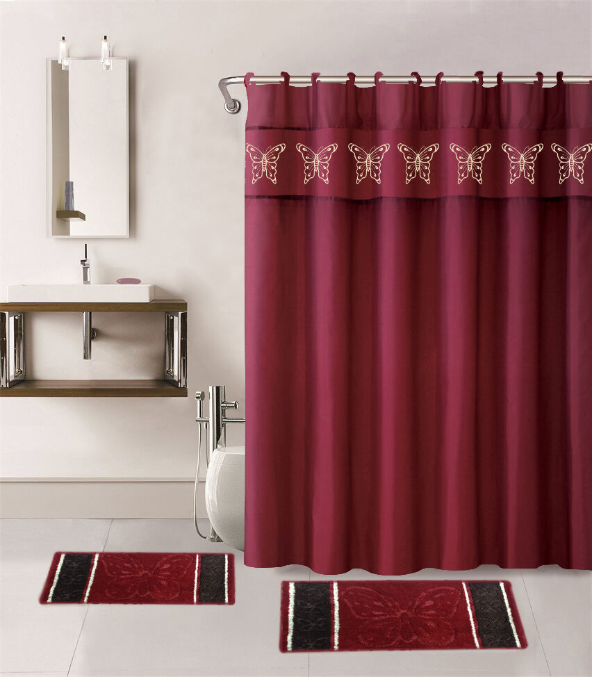 15pc burgundy butterfly bathroom set bath mats shower curtain fabric hooks ebay. Black Bedroom Furniture Sets. Home Design Ideas