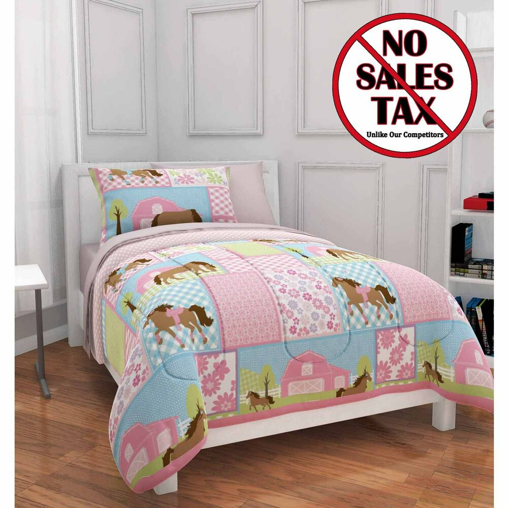 twin size girls pony country horse bed in bag comforter 5 pc set bedding pink ebay. Black Bedroom Furniture Sets. Home Design Ideas