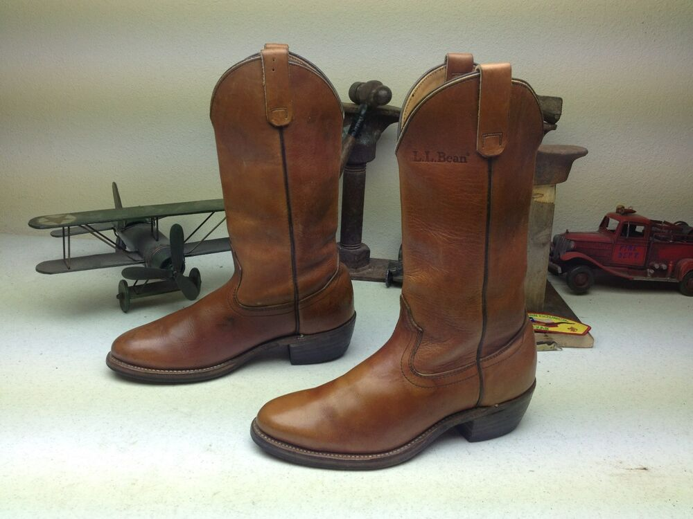 Classic L L Bean Distressed Brown Gold Engineer Western