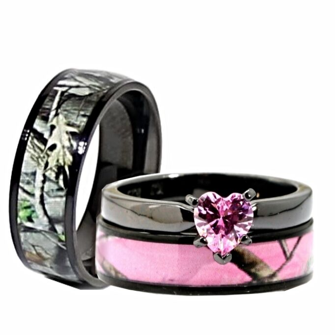 Her Black Pink Titanium Camo Heart Stainless Steel Engagement Wedding Rings  | eBay