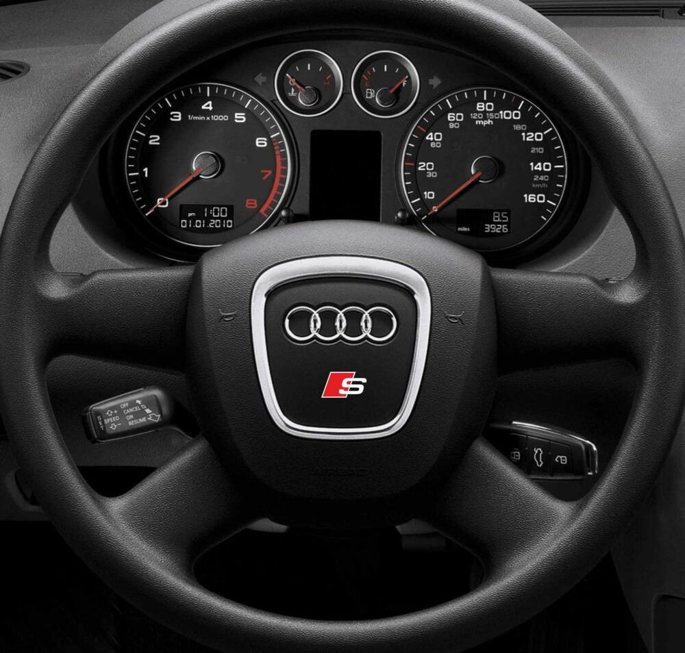 2x audi s line steering wheel sticker badge emblem logo. Black Bedroom Furniture Sets. Home Design Ideas