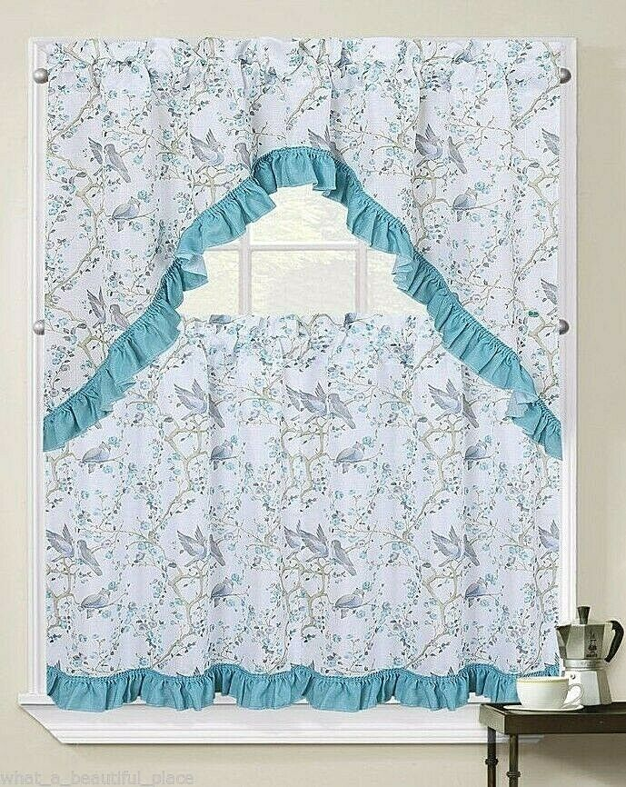 3 Pc Birds Amp Blossom Branches Blue Ruffle Tier Amp Valance