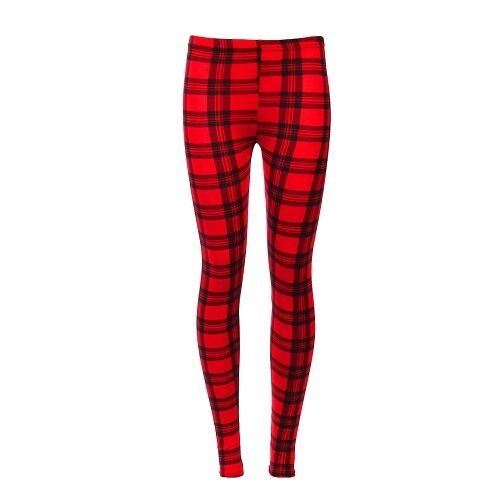 2ab2cd5780112 Details about New Girls Kids Red Black Tartan Checked Christmas Leggings  Age 7 8 9 10 11 12 13