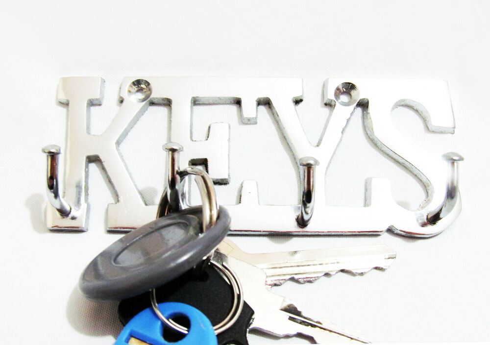 Keys Chrome Silver Finish Brass Metal Key Hooks Holder