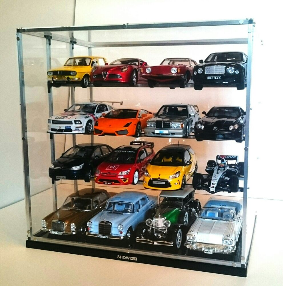 1 18 display cabinet case vitrine diecast models dust free showbox16 transparent ebay. Black Bedroom Furniture Sets. Home Design Ideas